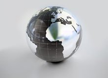 Metal globe. Metal earth globe 3D with reflection illustration isolated Royalty Free Stock Images