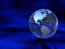 Metal Globe in Binary Background Stock Photo