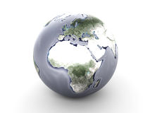 Metal Globe - Europe, Africa. A metallic globe. 3D rendered Illustration Royalty Free Stock Photo