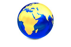 The metal globe focus to Africa. Stock Images
