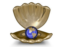 Metal globe in a gold bowl. The image of the metal globe in a gold bowl Stock Photos