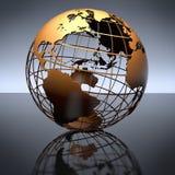 Metal Globe on Studio Reflective Background stock photography