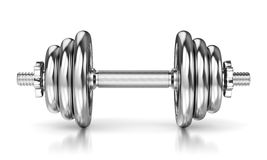 Metal glossy dumbbell Royalty Free Stock Photography