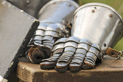 Metal gloves for ritier. Ancient martial metal gloves for ritier Royalty Free Stock Image