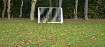 Metal goal on a grass field during autumn season. stock photos