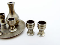 Metal goblets and decanter set Royalty Free Stock Image