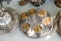 Metal goblets of silver color Royalty Free Stock Image