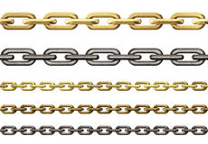 Metal and gold chains collection isolated Royalty Free Stock Photos