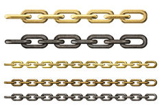Metal and gold chains collection isolated Royalty Free Stock Photo