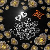 Metal Gold hearts made of spheres  on black background. Happy valentines day lettering written by fire of smoke. 3d illust. Ration Royalty Free Stock Image