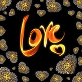 Metal Gold hearts made of spheres  on black background with Love lettering written by fire or smoke. Happy valentines day. 3d illustration. 3d illustration gem Stock Photography