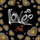 Metal Gold hearts made of spheres  on black background with Love lettering written by fire or smoke. Happy valentines day. 3d illustration Stock Image