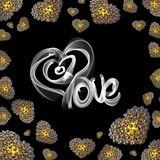 Metal Gold hearts made of spheres  on black background with Love lettering written by fire or smoke. Happy valentines day. 3d illustration Royalty Free Stock Image
