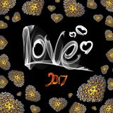 Metal Gold hearts made of spheres  on black background with Love lettering written by fire or smoke. Happy valentines day. 3d illustration Royalty Free Stock Photo