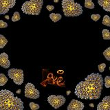 Metal Gold hearts made of spheres  on black background with Love lettering written by fire or smoke. Happy valentines day. 3d illustration. Copyspace for your Stock Photography