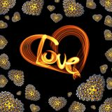 Metal Gold hearts made of spheres isolated on black background with Love lettering written by fire or smoke. Happy valentines day. 3d illustration Stock Images
