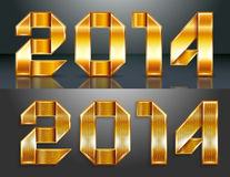 Metal gold ribbon - 2014 Stock Images