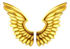 Metal Gold Wings. A pair of gold or golden shiny metal wings Stock Images