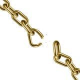 Metal golden broken chain 3D. Freedom concept. Vector illustration Royalty Free Stock Photos
