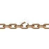 Metal golden broken chain 3D. Freedom concept. Vector illustration Stock Photo