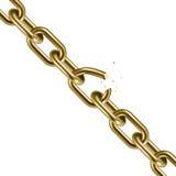 Metal golden broken chain 3D. Freedom concept. Vector illustration Stock Images