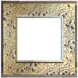 Metal golden frame isolated on white Royalty Free Stock Photography