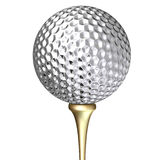 Metal golf ball. Silver metal golf ball isolated on white background Royalty Free Stock Images