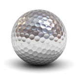 Metal golf ball over white background with reflection and shadow. 3D rendering stock illustration