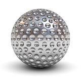 Metal golf ball over white background with reflection and shadow. 3D rendering vector illustration