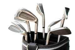 Metal golf club set in carrier bag Royalty Free Stock Photos