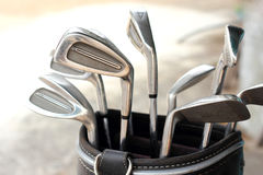 Metal golf clubs in bag Royalty Free Stock Photo