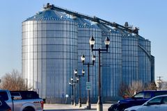 Metal Grain Silos in the Midwest stock images