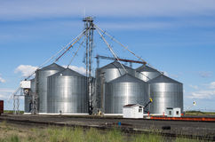 Metal Grain Storage Silo Facility Royalty Free Stock Photos