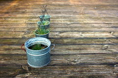 Metal grass pots on terrace Royalty Free Stock Photography