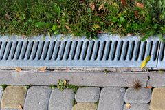 Metal grate of rainwater drainage system in a park.  Stock Images