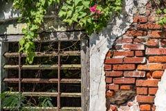Metal grate window in brick wall with peeling plaster Royalty Free Stock Photo