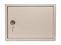Metal grauen Kasten mit Tür, Vorhängeschloß und Tasten Stockbilder