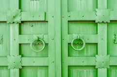 Metal green aged textured door with rings door handles and metal details in form of stylized flowers. Stock Photos