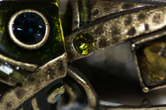 Metal & Green Jewels Royalty Free Stock Photography