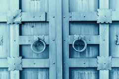 Metal grey aged textured door with rings door handles and metal details in form of stylized flowers. Royalty Free Stock Image
