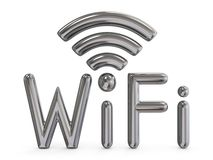 Metal grey WiFi sign 3D. Render illustration isolated on white background Stock Images