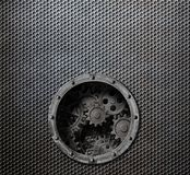 Rusty metal grid background with porthole and gears inside 3d illustration. Metal grid background with porthole and gears inside 3d illustration Royalty Free Stock Photo