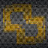 Metal grid background with yellow pattern. Vector Royalty Free Stock Photo