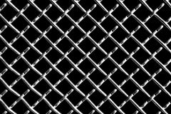 Metal grid on black background. Metal mesh or aluminum grid with regular pattern on black background stock photography