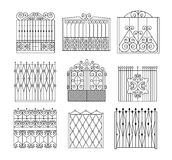 Metal Grid Fencing Set Of Different Designs Royalty Free Stock Photography