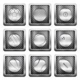Metal grid icons Stock Photo