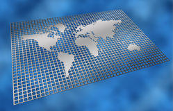 Metal grid world map Stock Photo
