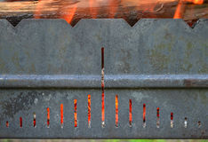 Metal grill with fire Stock Photo
