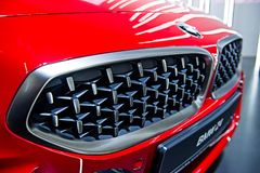 Metal grill red BMW Z4 sport car,selective focus royalty free stock photography