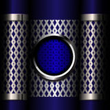 Metal grille on blue background Royalty Free Stock Image